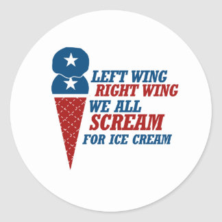 Left Wing Right Wing Ice Cream - -  Round Sticker