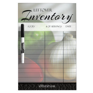 Leftover Food Inventory List with Date & Servings Dry Erase Board