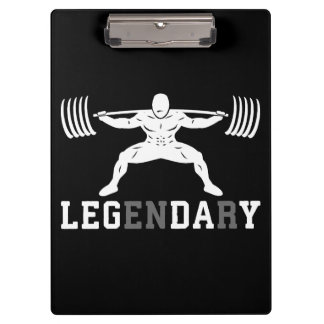 Leg Day - Legendary - Squat - Gym Inspirational Clipboard