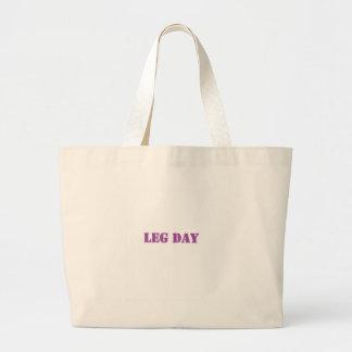 leg day purple tote bag