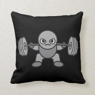 Leg Day - Squat - Kawaii Weightlifter Throw Pillow