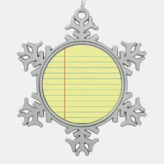 Legal Pad Pattern Snowflake Pewter Christmas Ornament