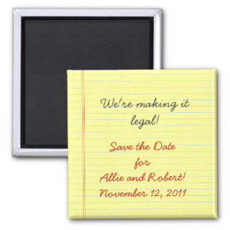 Legal Pad Save the Date Square Magnet