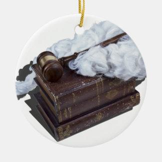 LegalBooksJudgeWigGavel042113.png Ceramic Ornament