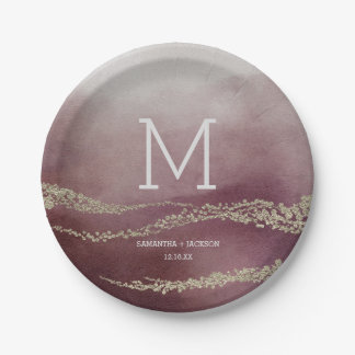 legant Watercolor in Cranberry Wedding Monogram Paper Plate