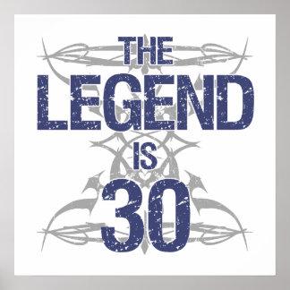 Legend 30th Birthday Poster