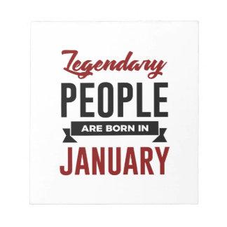 Legendary Born In January Babies Birthday Notepad