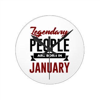 Legendary Born In January Babies Birthday Round Clock