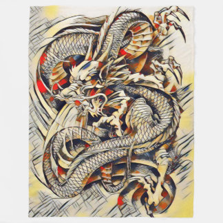 Legendary Chinese Emperor Dragon Scroll Abstract Fleece Blanket