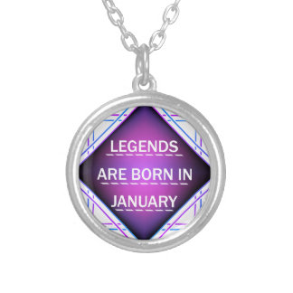 Legends are born in january silver plated necklace