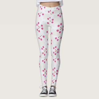 Legging with Pink Designs on a Sea of White