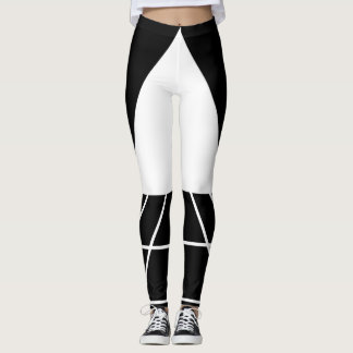 Leggings Abstrait Triangles Blanc