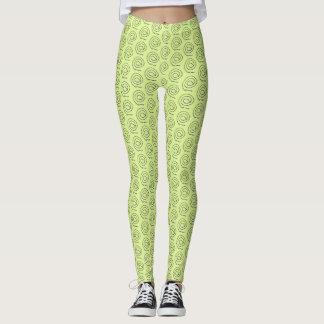 Leggings - Beaded Spirals on Light Green