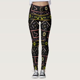 Leggings black with ethnic pattern