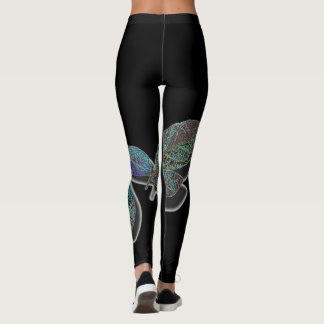 Leggings - Black with leaves