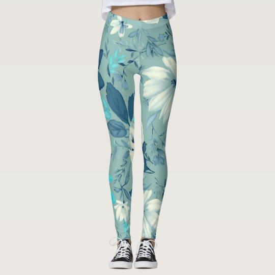 Leggings-blue floral yoga leggings