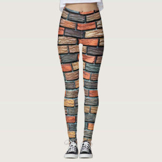 Leggings-brick texture leggings