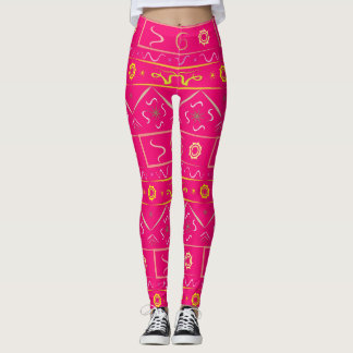 Leggings bright pink with ethnic pattern