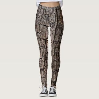 Leggings-burn wood texture leggings