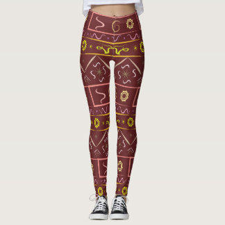 Leggings color chocolate with ethnic pattern