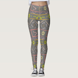 Leggings color graphite with ethnic pattern