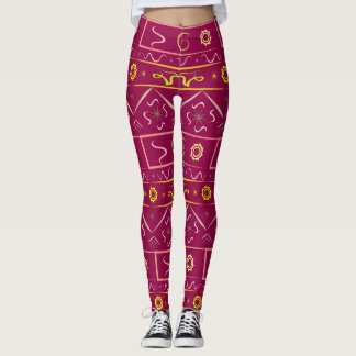 Leggings color ripe cherry with ethnic pattern
