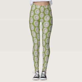 Leggings - Crocheted Spiral in Green on White