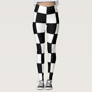 Leggings- designed, Squares, Black and White Leggings