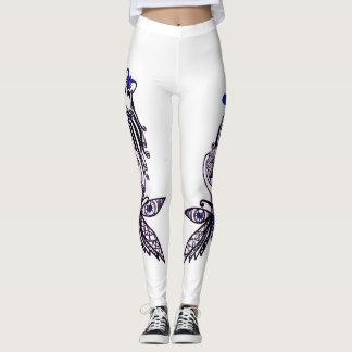 Leggings exsclusive design.  Blue girl butterfly.