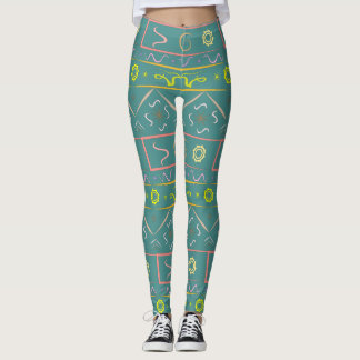 Leggings green pastel with ethnic pattern