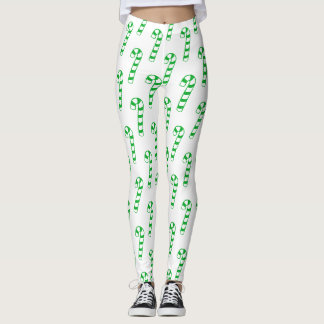 Leggings - Green Striped Candy Canes
