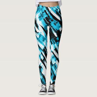 Leggings Hot Blue Black abstract digitalart G253
