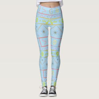 Leggings light blue with ethnic pattern