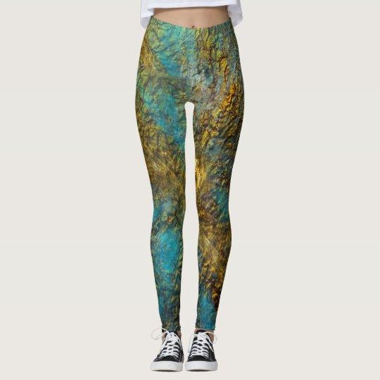 Leggings- modern design/ gold and Turquoise Leggings