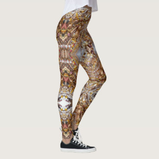 Leggings- Natural Earthtones, Amber & Bronze Beads Leggings