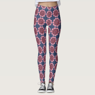 Leggings navy blue with pink flowers ganchillo
