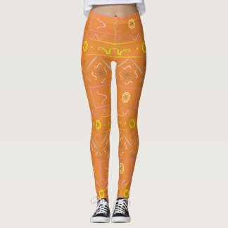 Leggings orange with ethnic pattern
