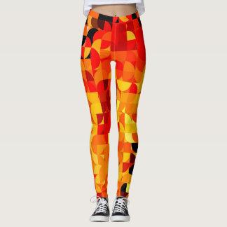 Leggings Pastel Harlequin Pattern Red Yellow