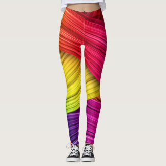 Leggings-rainbow texture leggings