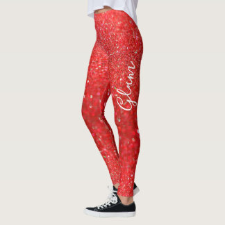 Leggings - Red Glitter Glam