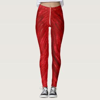 Leggings-red plumage texture leggings