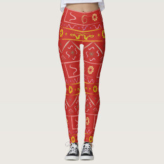 Leggings red with ethnic pattern