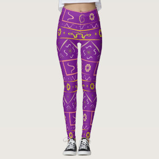 Leggings rich purple with ethnic pattern