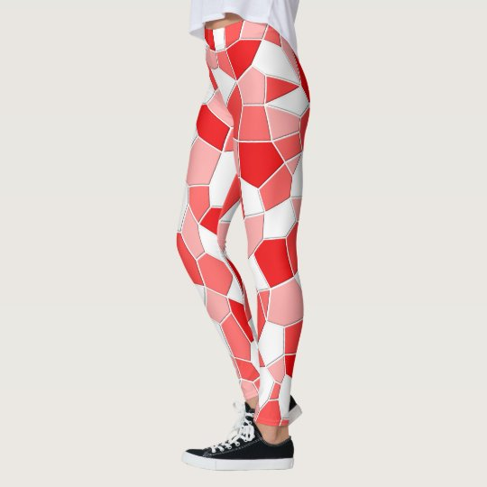 Leggings - Shades of Red Mosaic