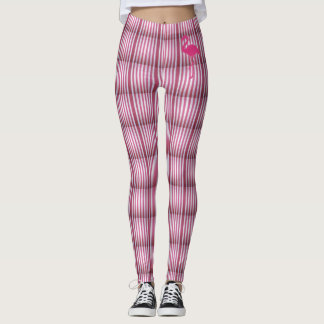 Leggings stripes with pink flamingo