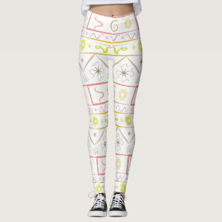 Leggings white with ethnic pattern