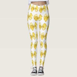 Leggings white with yellow bows