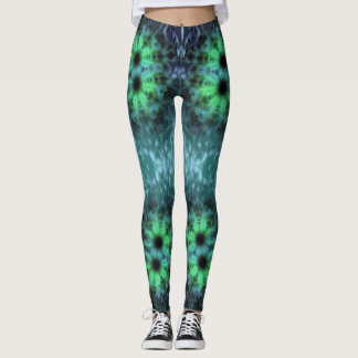 Leggings with a Green Geometric Rainforest Pattern