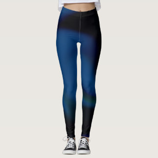 Leggings with abstract blue and black design