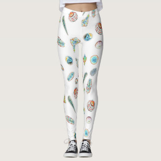 Leggings with colorful seashells